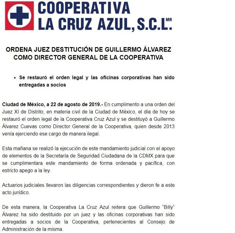 Destituyen a Guillermo Álvarez de Cooperativa Cruz Azul
