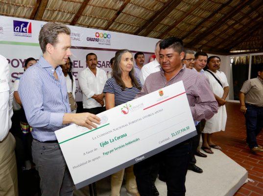 Velasco entrega apoyos económicos para reforestar y conservar bosques y selvas