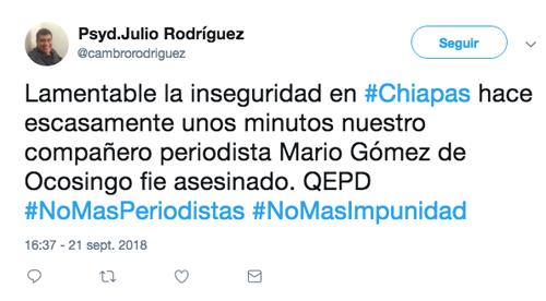 Avanzan investigaciones sobre homicidio de periodista en Chiapas