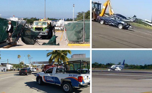 Conductor impacta pipa en aeropuerto de Puerto Vallarta