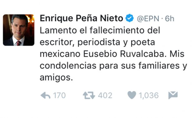 Peña Nieto lamenta fallecimiento de Eusebio Ruvalcaba