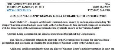 Extradición de El Chapo, logro de la administración Obama