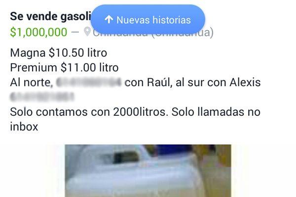 Se vende de todo en Facebook, hasta gasolina Magna o Premium