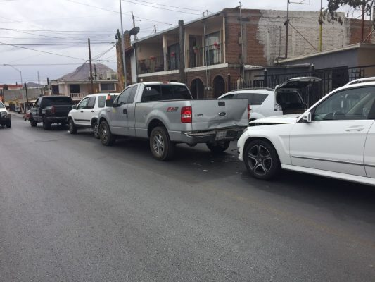 Carambola de camionetas en el Centro de la Ciudad