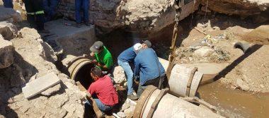 Repara Junta de Aguas línea de conducción a la salida Aldama