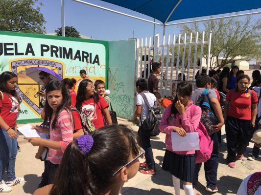 Suspenden clases en primaria Chihuahua 2757 por falta de agua