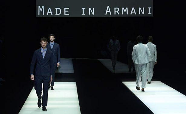 Armani en pasarela con tonos crudos