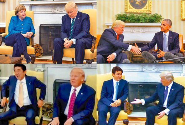 Trump, impredecible desde el saludo
