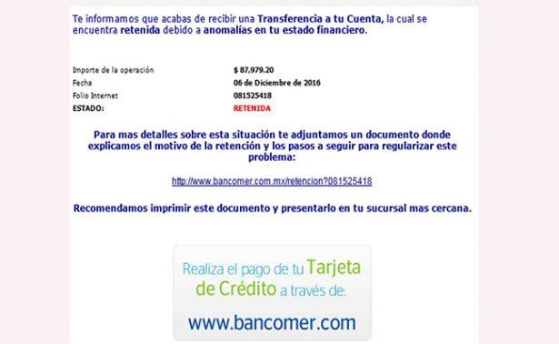 No caigas en la trampa de un nuevo correo fraudulento a nombre de Bancomer
