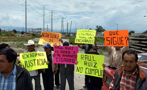 Paralizan ejidatarios obras del Tren Interurbano México-Toluca
