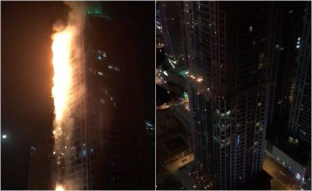 [Video] Incendio consume imponente rascacielos en Dubai