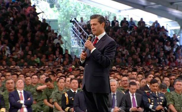 Inadmisibles las expresiones que critican a Fuerzas Armadas, afirma el Presidente Peña Nieto