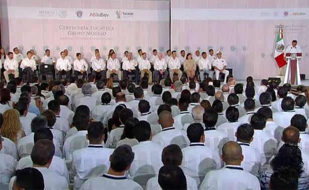 Enrique Peña Nieto inaugura importante planta cervecera en Yucatán