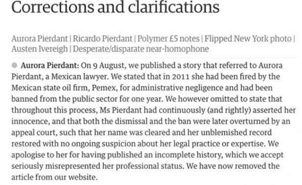 Gana Aurora Pierdant demanda y es indemnizada por The Guardian