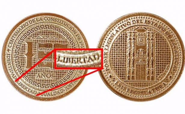 "Diputada corrige moneda que grabaron con ""livertad"""