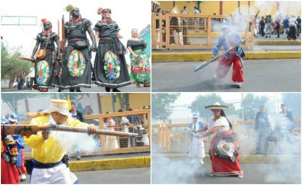 ¡Así se lleva a cabo la escenificación de la Batalla de Puebla en Peñón de los Baños!