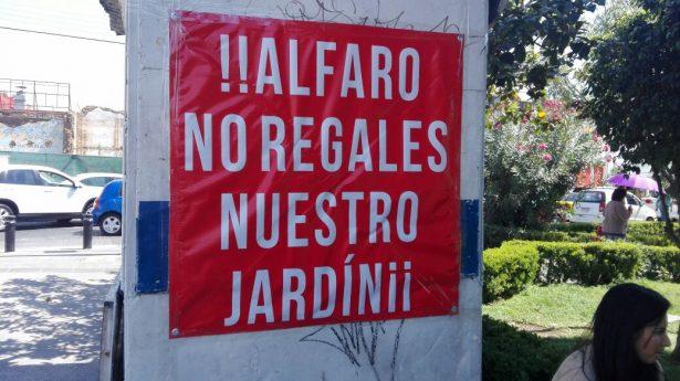 Se oponen a construcción de estacionamiento en el Jardín Mexicalzingo