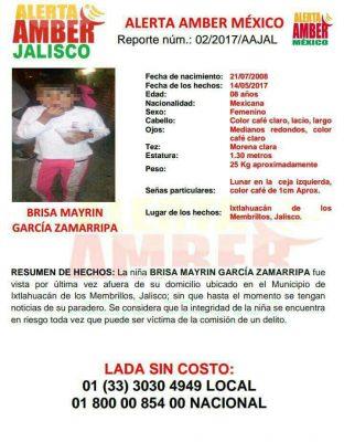 Hallan cadáver de niña desaparecida en Ixtlahuacán de los Membrillos