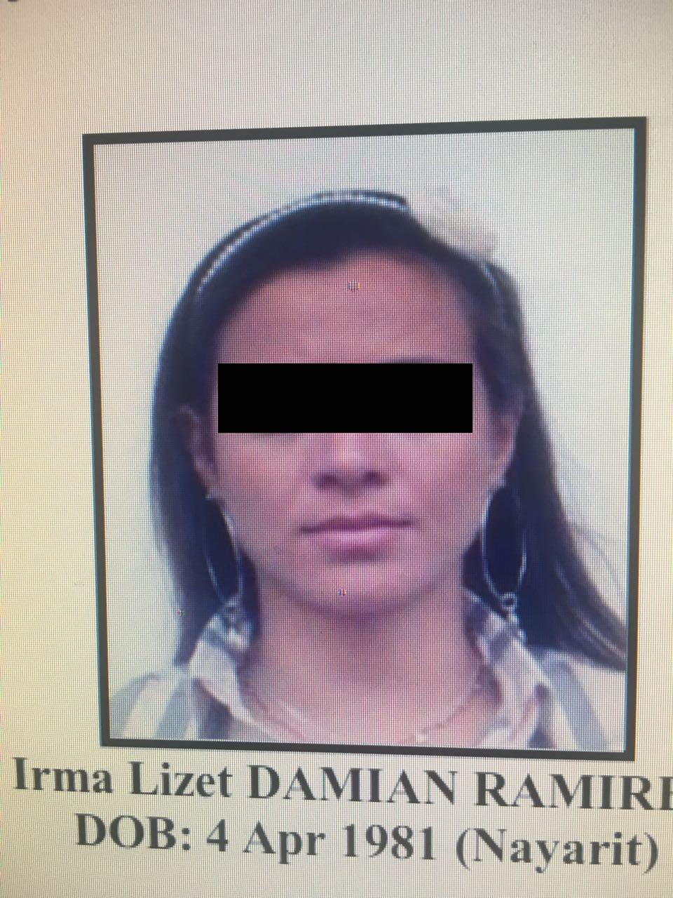Lo mismo hizo, un poco antes, Irma Lizeth Damián Ramírez, originaria de Nayarit, nacida el 4 de abril de 1981, bajo el número de expediente 1313/2017.