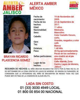 Activan Alerta Amber en Jalisco, para localizar a Brayan Ricardo Plascencia Gómez, de 11 años