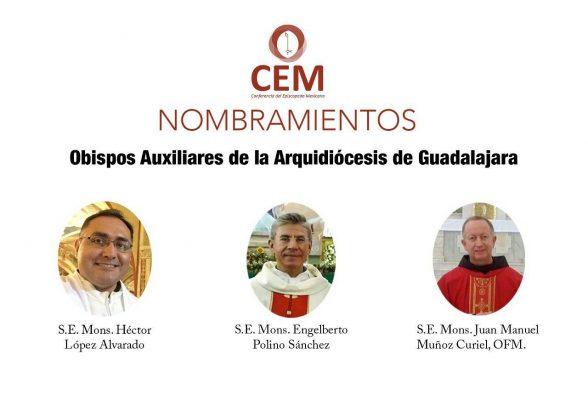 Papa Francisco nombra 3 nuevos obispos auxiliares en Guadalajara