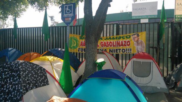 Miembros de la UNTA se manifiestan afuera de las oficinas de SAGARPA