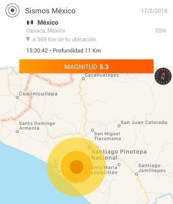 Reportan réplica de 5.3 grados en Pinotepa Nacional, Oaxaca