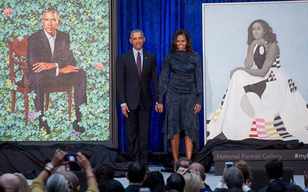 Así lucen los retratos de Barack y Michelle Obama en el National Portrait Gallery