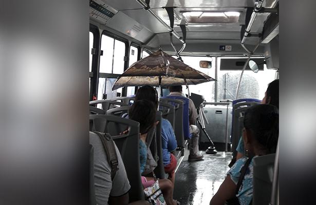 Por goteras en unidades, viajan en acabús con sombrillas abiertas