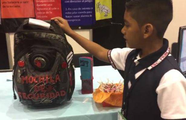 Niño tamaulipeco presenta la mochila antibalas en la Expociencias Tamaulipas