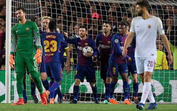 Barcelona aventaja 4-1 sobre la Roma en cuartos de Champions