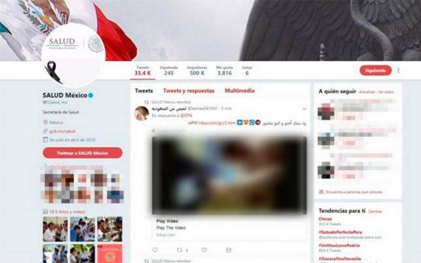 Hackean Twitter de la Secretaría de Salud y comparten porno