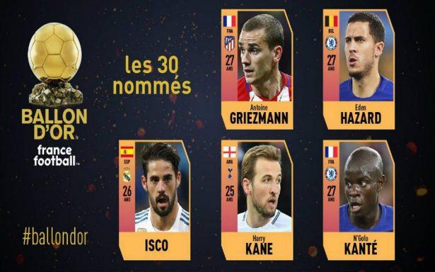 Griezmann, Kane y Kanté. Ellos son los nominados al Balón de Oro