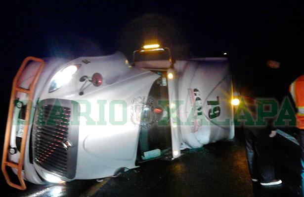 Tráiler cargado de cerdos vuelca sobre la autopista Perote-Xalapa