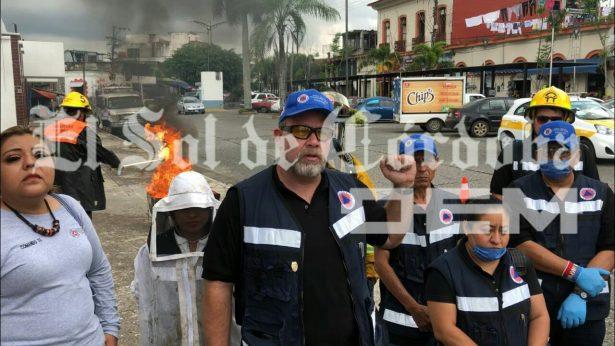 Realizan simulacro de incendio por derrame de combustibles