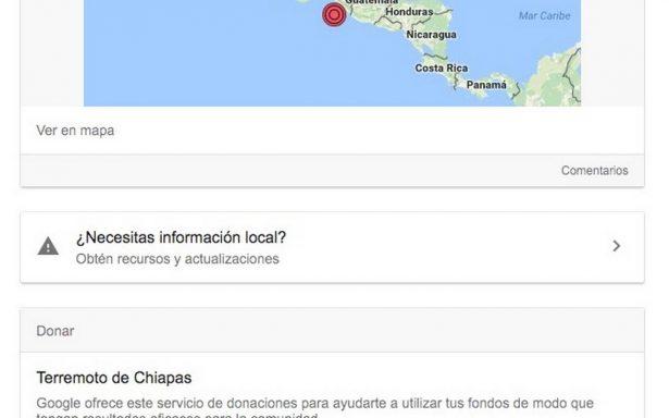 Google activa botón de donativos por terremoto en México