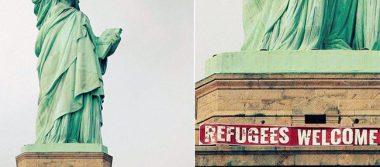 """""""Bienvenidos refugiados"""", así saluda la Estatua de la Libertad"""
