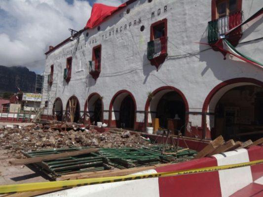 Mano de obra nativa para reconstrucción en Tlayacapan