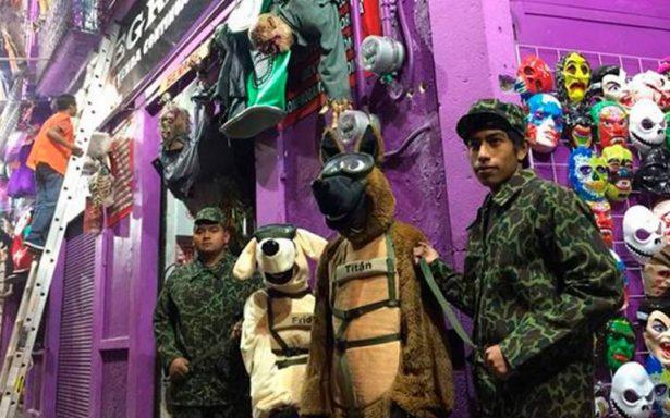 [Video] ¡Sigue la euforia por Frida! Crean disfraz para halloween de la perrita rescatista
