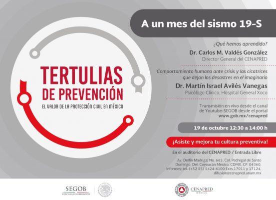 Realizarán Tertulias de Prevención, a un mes del sismo
