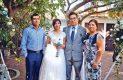 Abiel y Miriam, familia de la novia, con los ya esposos.