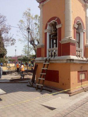 Apuntalan reloj emblemático de Jonacatepec