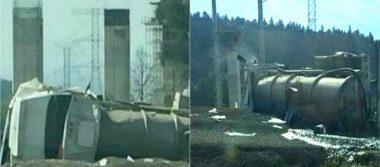 Cuantiosos daños materiales deja volcadura de pipa en la México-Toluca