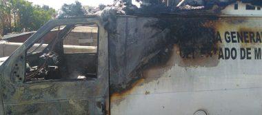 Arde camioneta de la Fiscalía