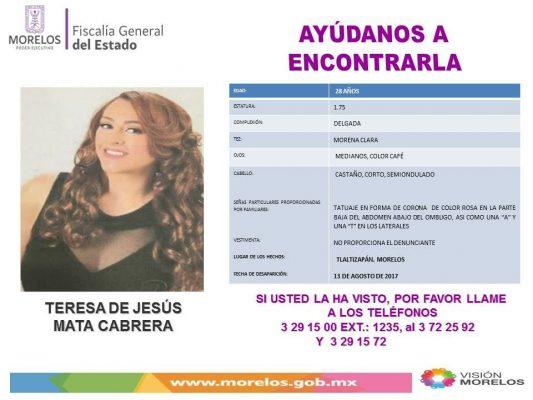 Solicitamos su ayuda para localizar a Teresa de Jesús Cabrera
