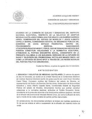 Suspende INE promocional del PES por calumnias