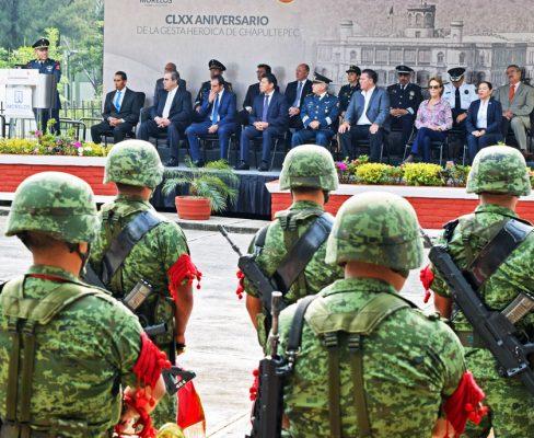 Los jóvenes cadetes del Colegio militar fueron recordados en la ceremonia conmemorativa de la defensa del Castillo de Chapultepec. Foto: Jackeline López