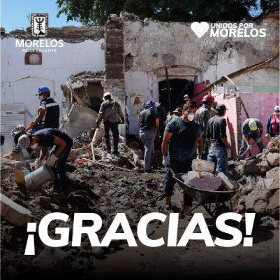 Agradece Morelos a voluntarios