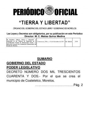 Coatetelco, el municipio 34; el primero indígena