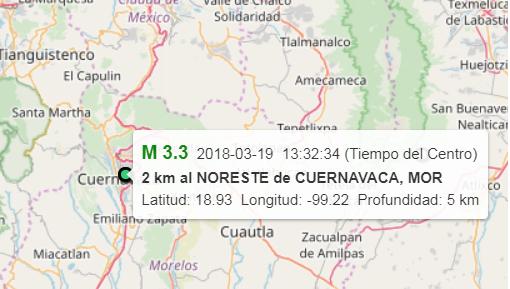 Confirma el SSN sismo en Cuernavaca